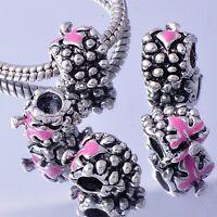 5Pcs White GF/Silver Pink Enamel BEADS Grapes european BEADS For DIY Bracelet