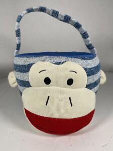 SOCK MONKEY BASKET by Dan Dee Plush EasterHalloween Bucket Blue/Cream