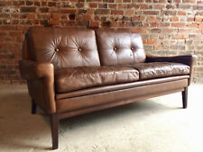Leather Sofa Settee Skipper Møbler Danish Brown Mid Century circa 1970s