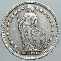 1943 SWITZERLAND HELVETIA Symbolizes OLD SWISS Nation SILVER 1 Franc Coin i89022
