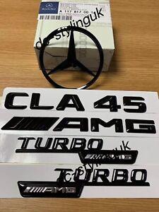 Gloss Black Rear Boot Star Badge & Emblems for Mercedes CLA45 AMG W117
