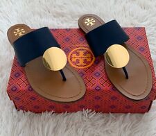 NIB TORY BURCH Patos Disk Sandals in Ink Navy / Gold  size 6 Flats Shoes