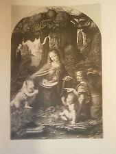 Planche gravure La vierge aux rochers d'aprés Léonard de Vinci Boucher Desnoyers