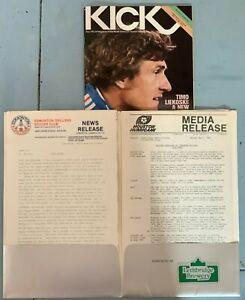 1980 Edmonton Drillers v Houston Hurricane NASL Soccer Program + Press Kit #FWIL