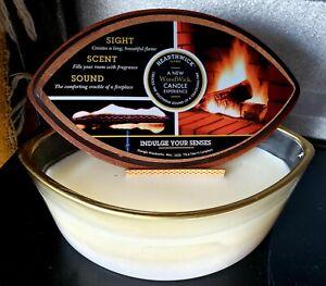 Woodwick White Tea & Jasmine Ellipse HearthWick Flame Beautifully Scented 16 oz.