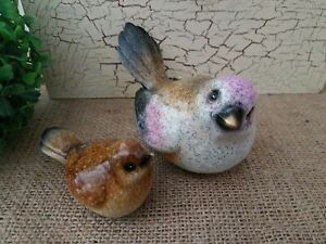 SET OF 2 CERAMIC BIRD HOME ORNAMENT FIGURINE
