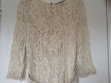 Next Cream Lacy Belted Dress UK 10