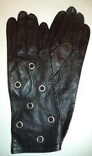 Ladies Long Genuine Leather Ringlet Gloves, Large, Black, Style 7677