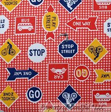 BonEful Fabric FQ Red White VTG Bike Gingham City Street Sign School Bus Kid Car