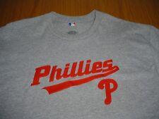 NEW WT MLB PHILADELPHIA PHILLIES STITCHED GRAY TEE T-SHIRT MENS S/M COTTON BLEND