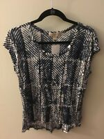 Michael Kors Navy Blue & White Patterned Short Sleeve Shirt, Size Small