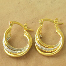 Authentic Yellow/White Gold Plated Embossed Womens Hoop Earrings earings