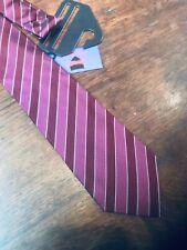 "PAUL COSTELLOE Italy  Silk Tie Burgundy/White stripes slim 3""  BNWT"