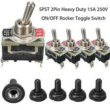 5X SPST 2Pin 15A 250V Car Truck Boat ON/OFF Rocker Toggle Switch Waterproof Boot