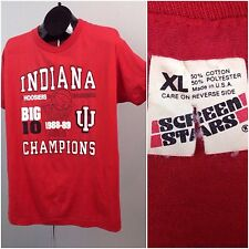 Vintage 80s Threadbare Indiana Hoosiers Basketball Big 10 Champs T Shirt 88/89 L