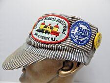 Vintage USA Railroad Hat Utility Cap Sanforized Hickory Denim Stripe Patches Pin