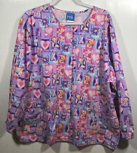 Pink Ribbon Scrub Jacket womens size XL extra-large Snap Front Coat Scrubs Oct.