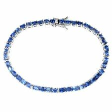 Unheated Oval Kyanite 4x3mm White Gold Plate 925 Sterling Silver Bracelet 7.5