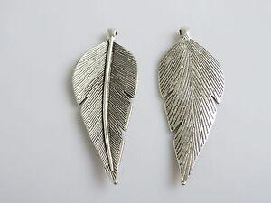 2 x Large Tibetan Silver Tree Leaf Charms Pendants 90x35mm