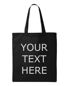 Custom Tote Bag Add Your Text Personalized Custom Printed Gift Shopping Reusable