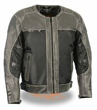 Men's Distressed Grey Leather & Mesh Racer Jacket w/ Removable Rain Jacket Liner