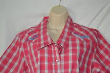 Bit & Bridle Womens Large Pink Plaid Short Sleeve Button Down NEW Embroidered