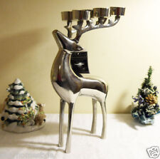 REINDEER DEER LARGE CHROME METAL CANDLE HOLDER CHRISTMAS CENTERPIECE DECOR GIFT