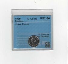 **1969**, CCCS Graded Canadian,  10  Cent, **PL-66 Heavy Cameo**.