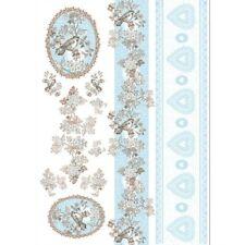 Papier de découpage Bordures coeur oiseau DFG371 50x70 cm Decoupage Paper Border