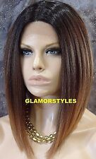 "15"" Bob Brown Mix Full Lace Front Wig Hair Part Heat Ok Hair Piece #2T4.27 NWT"