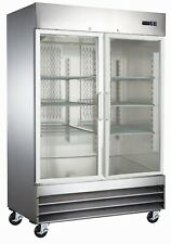 A.C.E. Commercial Display Freezer, Double Reach-In Glass Doors 47 Cu.Ft.