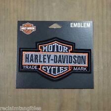 Harley Davidson Authentic Patch  - Gray Long Bar & Shield - Medium Emblem Badge