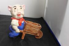 Vintage Pig Pushing a Wheelbarrow Ceramic Planter