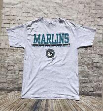 Mens Vintage 90s 1997 MLB Florida Marlins T-shirt Size Large Gray