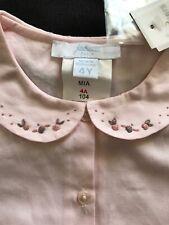 Jacadi (Paris) NWT Pink 100% Cotton Embroidered Blouse - 4T (104cm)