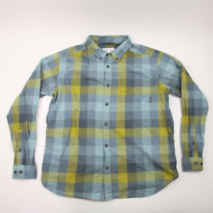 Columbia Long Sleeve Button Down Shirt Men's Size Large Plaid Blue And Green