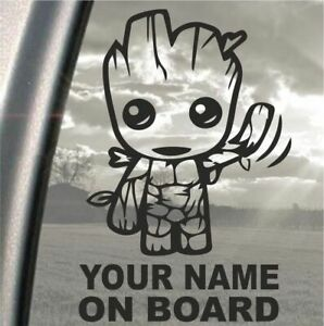 Baby On Board, Groot, Personalised With Any Name - Car Decal, Window Sticker