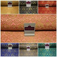 "Indian Banarsi Gold Floral Faux Silk Brocade Fabric 44 "" M711 Mtex"