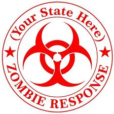 Custom Vinyl Your State Zombie Response Biohazard Car Window Decal / Sticker