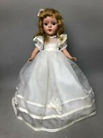 "Vintage  Porcelain 14"" Doll in White Sheer Gown,Fully Jointed,Sleepy Eyes, Stand"