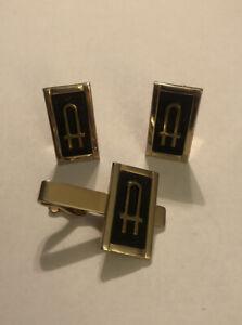 Vintage Swank Set Initial Monogram Tie Bar Clip Cufflinks Letter A Art Deco