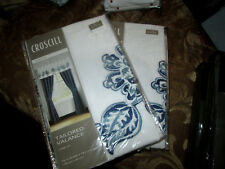 """CROSCILL CLAYRA BLUE Tailored Window Valances (2) 72"""" x 18"""" Embroidered Floral"""