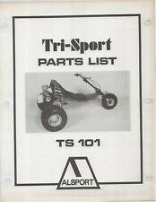 Reproduction Alsport Tri-Sport Parts List Manual TS101