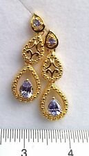 Yellow Gold Overlay 925 Sterling Silver Tanzanite Push Back Earrings #49