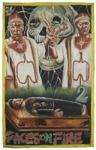 Ghana Movie poster African hand painted flour sack FACES ON FIRE