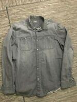 Calvin Klein Jeans Snap Button Front Shirt Men's XL Long Sleeve Gray