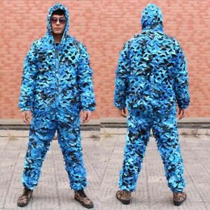 Ghillie Suit 3D Camouflage Clothes Tactical Hunting Hood Jacket Pants Shooting
