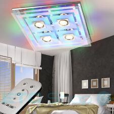 Luxus LED Chrom Decken Beleuchtung Glas Fernbedienung Leuchte RGB Lampe EEK A++