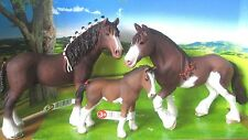3 x NEW Clydesdale Schleich Pony Horse Club Gelding + Mare + Foal Family Stable