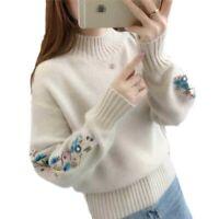 Damen Bestickt Stricken Sweater Pullover Rundhals Winter Langarm Warm Stilvoll B